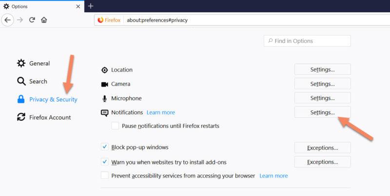firefox notification settings
