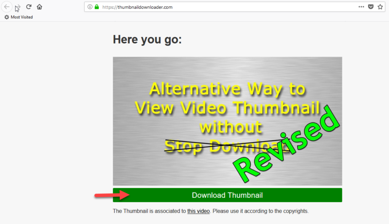 click download thumbnail button