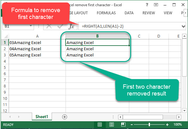excel remove first character