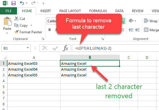 excel remove last character