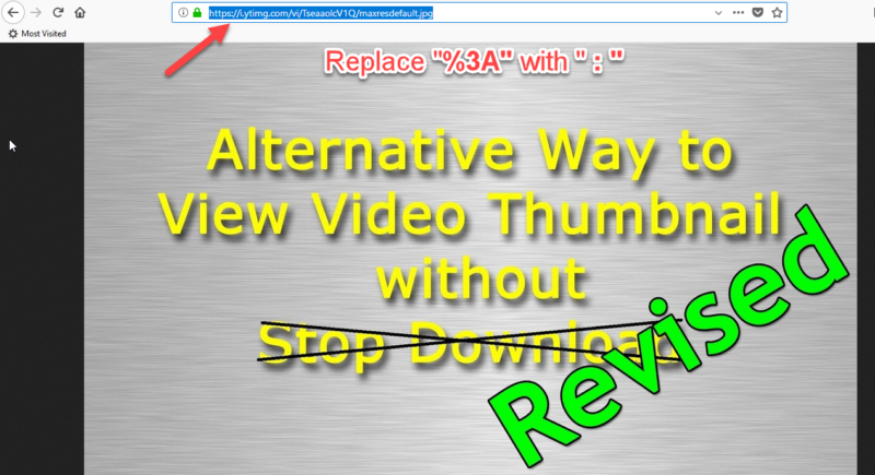 fix url and open youtube thumbnail image
