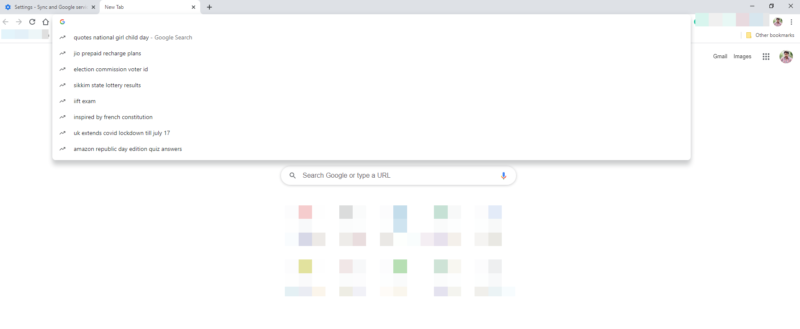 Google Chrome Trending Search Suggestion on Chrome address bar