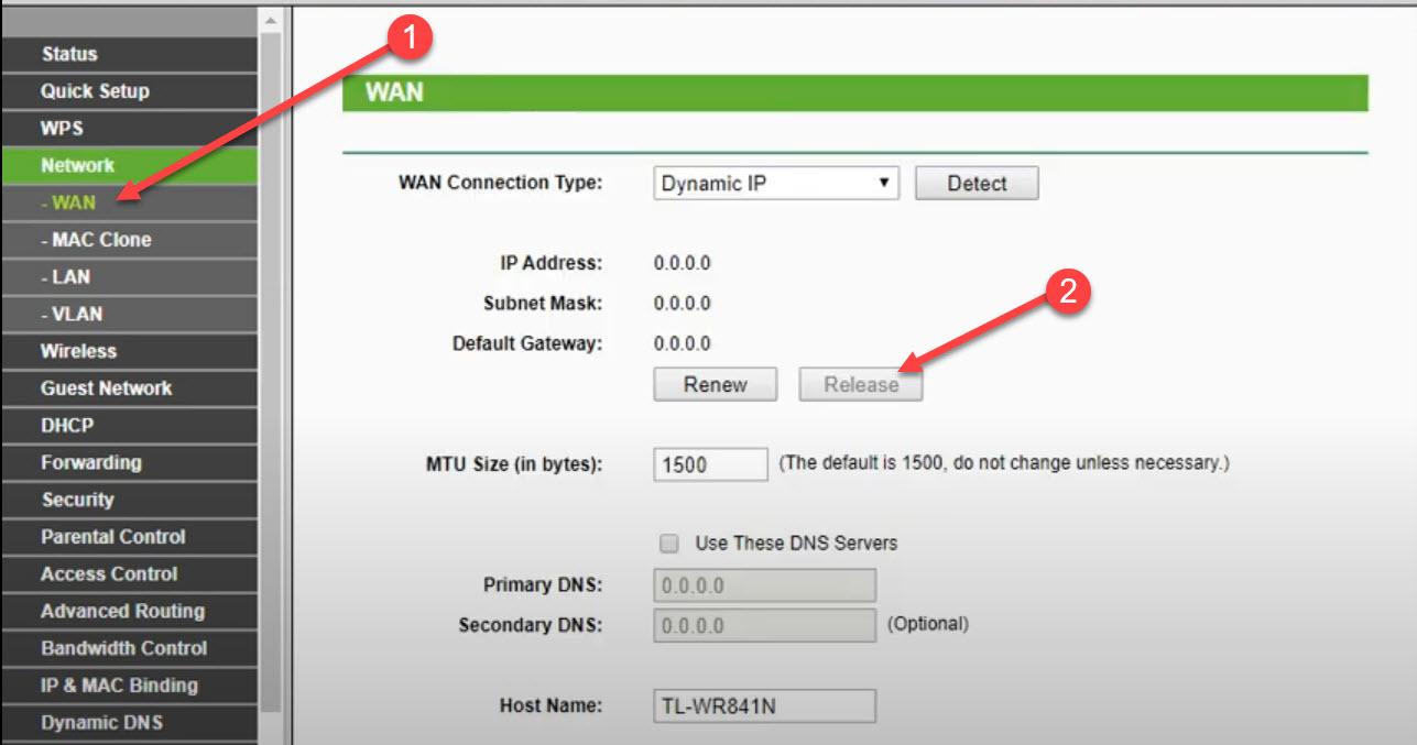 tp link wan release ip address